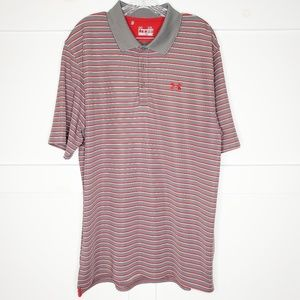 Under Armour Red Gray Striped Golf Polo Shirt XL